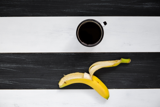 Banana and coffee for breakfast